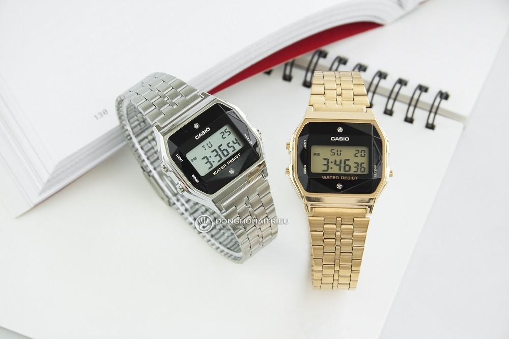 Đồng hồ casio a159 diamond có đính kim cương thật